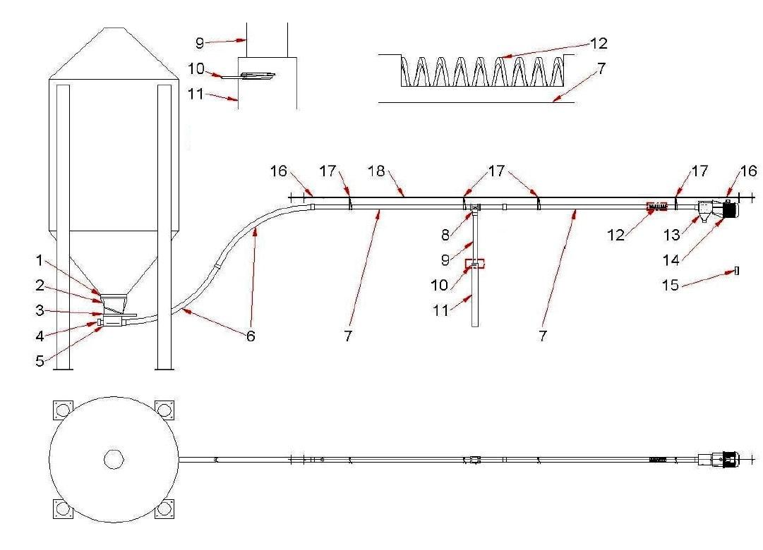 Схема та побудова спірального транспортера