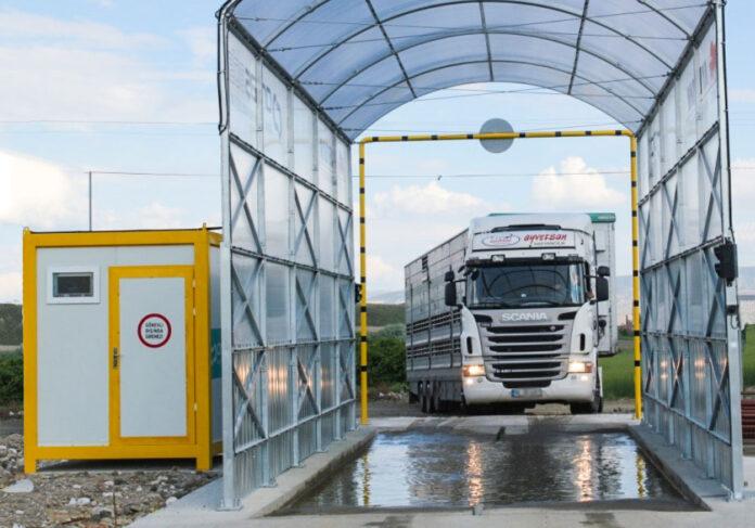 Рамка для дезінфекції автотранспорту